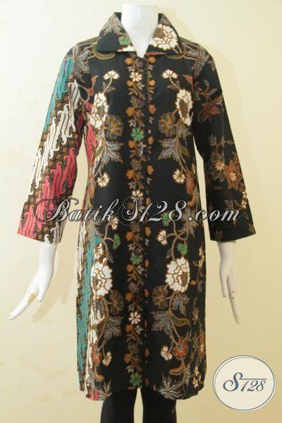 Busana Batik Parang Bunga Desain Mewah, Pakaian Batik Blus Masa Kini Proses Print Kombinasi Dua Motif Tampil Modis Berkelas, Size XL