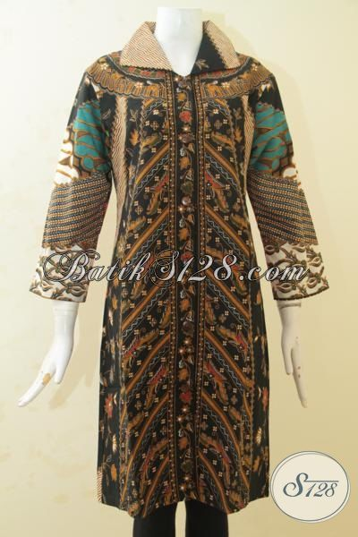 Baju Batik Jawa Modern, Busana Batik Blus Spesial Untuk Wanita Gemuk, Blus Batik Proses Printing Model Terbaru Yang Lebih Mewah Dengan Harga Terjangkau [BLS3439P-XXL]
