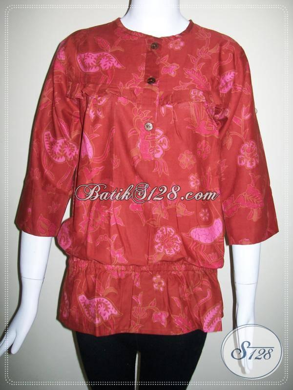Baju BAtik Wanita Warna Merah Yang Bisa Dipakai Untuk Acara Imlek,Batik Elegan Dan Modern [BLS343BT-M]