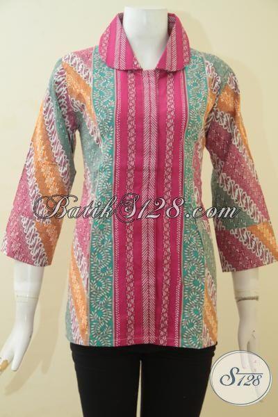 Jual Baju Batik Solo Cap Tulis Tiga Motif Warna Cerah, Busana Batik Trendy Untuk Santai Dan Kerja, Pakaian Batik Masa Kini Membuat Wanita Terlihat Anggun Dan Feminim [BLS3457CT-S]