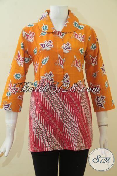Produk Baju Batik Elegan Dan Berkelas Kombinasi Dua Motif, Blus Batik Cap Tulis Istimewa Kombinasi Dua Motif Tampil Keren Dan Gaul, Size M