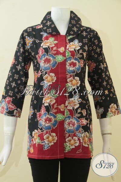 Batik Blus Modern Dual Motif Model Terbaru Yang makin Fashionable, Busana Batik Jawa Tengah Warna Berkelas Cocok Untuk Jalan-Jalan, Size M
