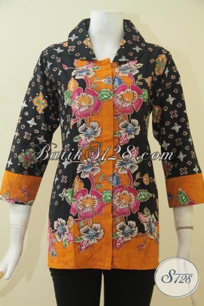 Blus Batik Modern Kombinasi Warna Hitam Dan Kuning Baju