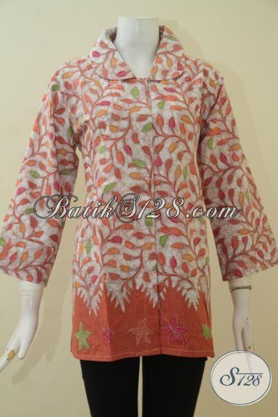 Toko Baju Wanita Online Sedia Blus Batik Kombinasi Tulis Desain Modis Pas Buat Kerja Dan Pesta, Size XL