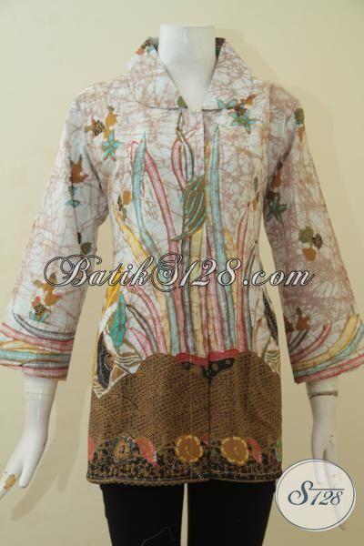 Batik Blus Dual Motif Warna Keren, Baju Batik Halus Proses Kombinasi Tulis Baju Kerja Wanita Dewasa Tampil Modis [BLS3467BT-XL]