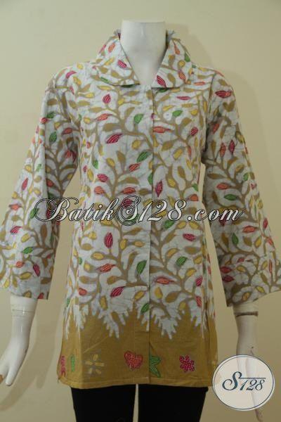 Butik Batik Jual Online Blus Batik Modern Motif Unik Dan Keren, Busana Batik Perempuan Dewasa Size XL Proses Kombinasi Tulis Nan Halus [BLS3468BT-XL]