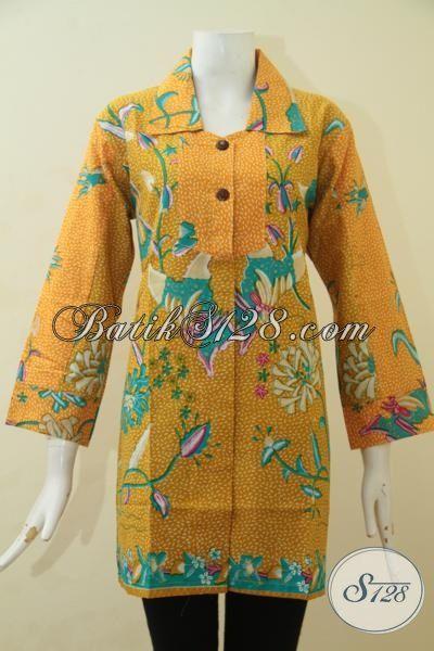 Batik Blus Formal Warna Kuning Motif Bunga, Baju Batik Remaja Putri Dan Wanita Muda Proses Print Harga 100 Ribuan [BLS3470P-S]