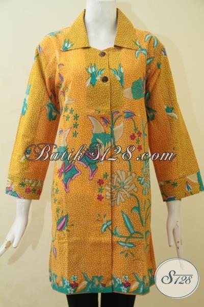 Pakaian Batik Blus Warna Kuning Model Paling Laris, Busana Batik Istimewa Motif Unik Membuat Cewek Terlihat Makin Anggun, Size M