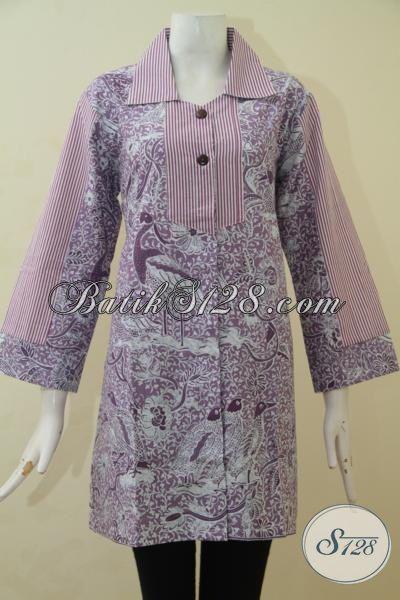 Blus Batik Desain Istimewa Motif Modern Proses Printing, Pakaian Batik Buatan Solo Tampil Modis Dan Anggun [BLS3473P-M]