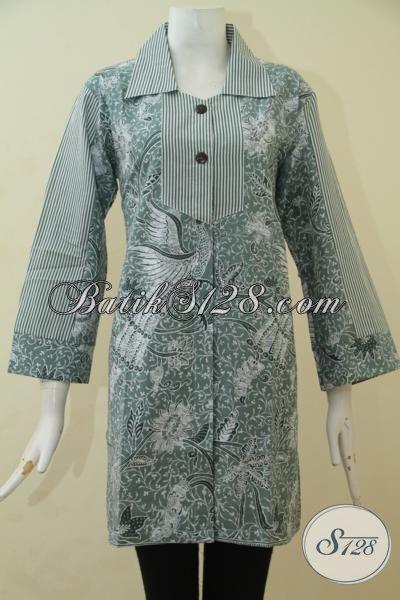 Produk Busana Blus Modis Proses Print, Baju Batik Wanita Muda Ukuran M Warna Abu-Abu Motif Bagus Banget