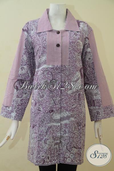Batik Blus Warna Ungu, Pakaian Batik Modern Desain Terkini Dengan Bahan Halus Yang Nyaman Di Pakai Proses Print, Size L