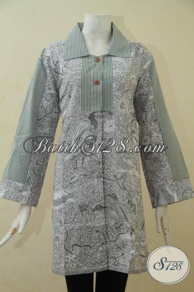 Online Shop Jual Busana Batik Wanita Model Terbaru, Blus Batik Berkelas Motif Trendy Proses Printing Kwalitas Halus Cocok Untuk Pesta [BLS3482P-L]