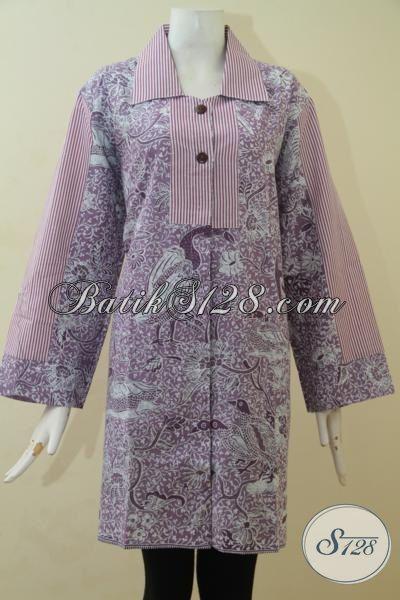Baju Batik Cewek Size XL, Blus Batik Ungu Dua Motif Kwalitas Halus Proses Print, Batik Modern Buatan Solo Harga Murmer