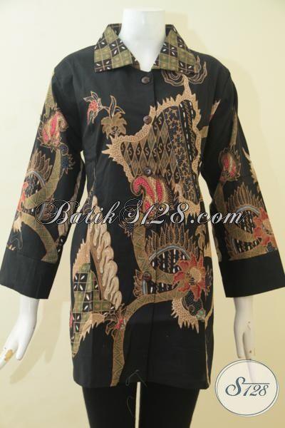 Blus Batik Tulis Halus Motif Klasik Ukuran Jumbo, Pakaian Batik Elegan 3L Baju Kerja Wanita Gemuk Tampil Terlihat Ramping, Size XXL