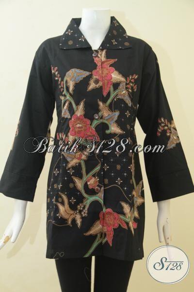 Batik Busana Kerja Dasar Hitam Motif Bunga Proses Tulis, Pakaian Batik Jumbo Exclusive Untuk Perempuan Gemuk Tetap Bisa Tampil Modis [BLS3491T-XXL]