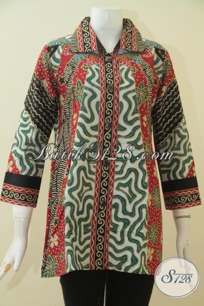 Baju Kerja Batik Desain Formal, Blus Batik Proses Printing Motif ELegan Warna Bagus Banget Mewah Dan Fashionable, Size M – L