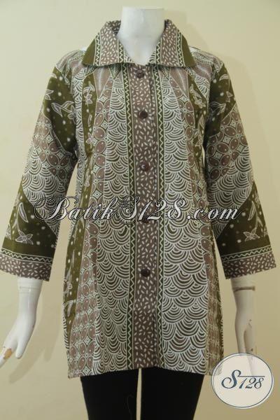 Batik Blus Motif Mewah Nan Elegan, Pakaian Batik Kerja Wanita Muda Dan Dewasa, Berbahan Halus Proses Printing Harga Murmer, Size S – L – XL