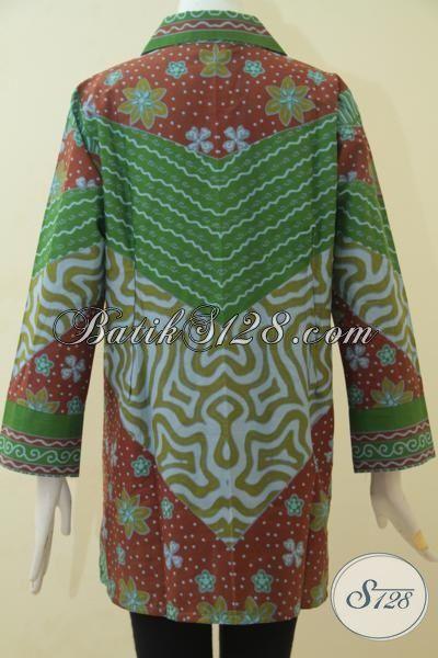 Blus Batik Print Desain Mewah Harga Murah, Baju Batik Formal Seragam Kerja Dan Pesta Motif Klasik  Yang Banyak Di Sukai Wanita Karir, Size XL