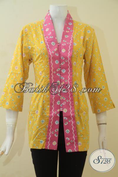 Baju Batik Blus Modis Warna Kuning Aksen Pink, Busana Kerja Batik Desain Formal Klasik Membuat Penampilan Lebih Anggun