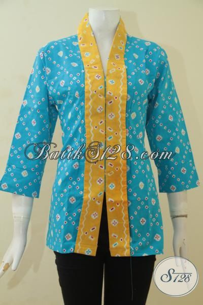 Batik Blus Modis Dan Istimewa, Pakaian Kerja Batik Perempuan Dewasa Berkelas Proses Print Harga Murmer [BLS3515P-All Size]