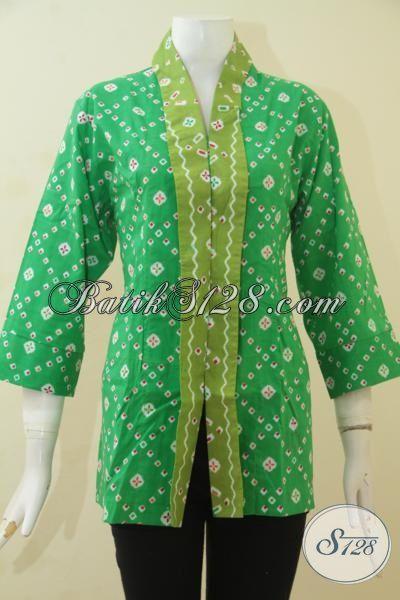 Toko Batik Jual Baju Blus Elegan Model Formal, Batik Busana Ke Kantor Perempuan Dewasa Proses Print Halus Asli Dari Solo [BLS3517P-All Size]