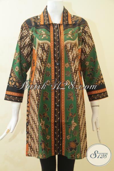 Blus Batik Motif Klasik Berpadu Warna Elegan Nan Mewah, Baju Batik Wanita Muda Tampil Terlihat Matang Proses Print [BLS3518P-M]