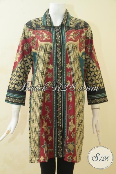 Baju Batik Wanita Terbaru, Busana Batik Blus Model Elegan Nan Mewah Berpadu Motif Yang Berkelas Cocok Untuk Kerja Dan Acar Formal, Size S – M
