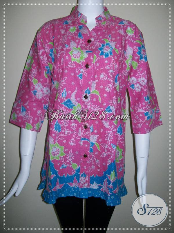 Motif Floral Untuk Baju Batik Warna Pink,Model Baju Batik Terlaris Dan Terkini [BLS351P-M-95]