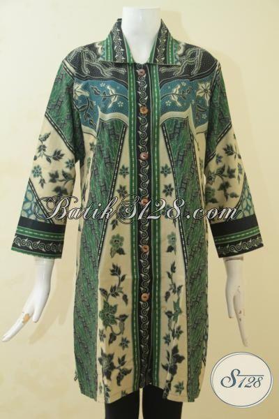 Batik Blus Klasik Warna Hijau, Batik Modern Desain Istimewa Berbahan Halus Proses Print, Pakaian Batik Masa Kini Tampil Cantik Maksimal [BLS3521P-L]