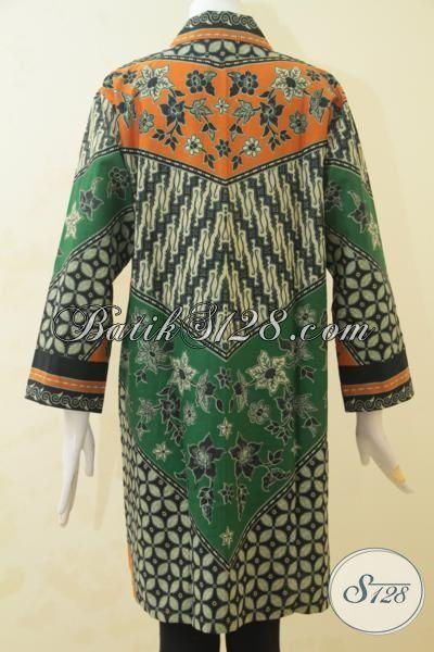 Blus Batik Size XL Kwalitas Halus, Pakaian Batik Modis Dan Modern Motif Unik Kombinasi, Batik Jawa Klasik Proses Print Harga Terjangkau