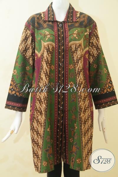 Blus Batik Klasik Dengan Sentuhan Modern, Busana Batik Printing Istimewa Kwalitas Halus Model Mewah Untuk Seragam Kantor, Size XL
