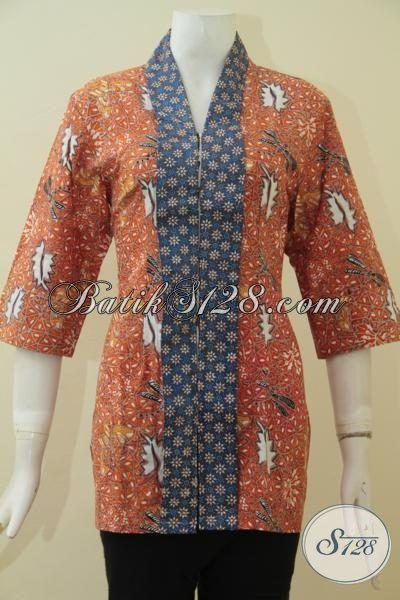 Busana Batik Blus Desain Terbaru Kombinasi Dua Motif Proses Cap Tulis, Baju Batik Wanita Muda Tampil Makin Modis, Size S