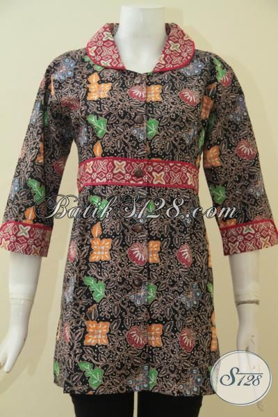 Jual Pakaian Batik Lengan Tiga Perempat, Busana Batik Motif Unik Desain Mewah Proses Cap Tulis, Baju Batik Modern Buat Wanita Yang Gila Fashion, Size M