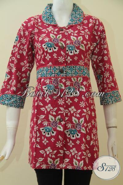 Blus Batik Hitam Baju Kerja Pegawai Masa Kini Agar Tampil Rapi Dan Modis, Busana Batik Spesial Untuk Wanita Muda Yang Bergaya, Size M