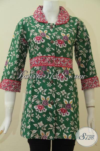 Busana Batik Cantik Dan Trendy, Blus Batik Baju Kerja Dan Pesta Size M Berbahan Halus Proses Cap Tulis Asli Dari Solo