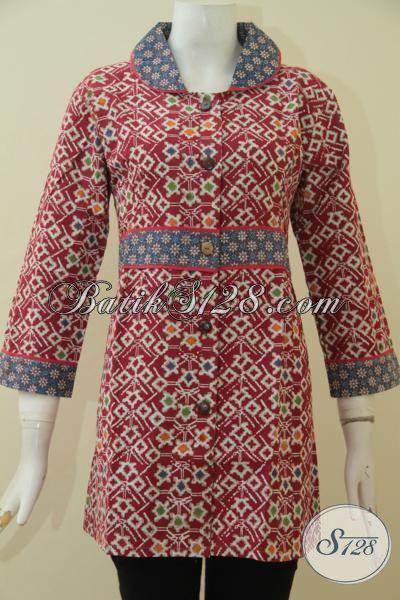 Jual Produk Blus Batik Desain Terkini Yang Banyak Di Sukai Wanita Muda, Pakaian Batik Cap Tulis Warna Merah Keren Dan Mewah [BLS3551CT-M]