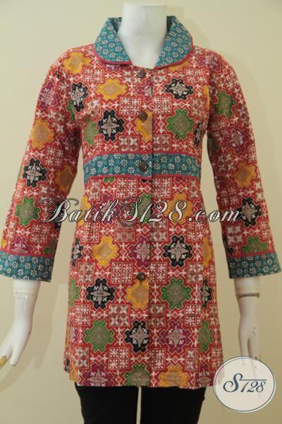 Pakaian Blus Batik Paling Keren Untuk Kerja, Busana Batik Masa Kini Buatan Solo Desain Mewah Harga 100 Ribuan, Proses Cap Tulis Size M