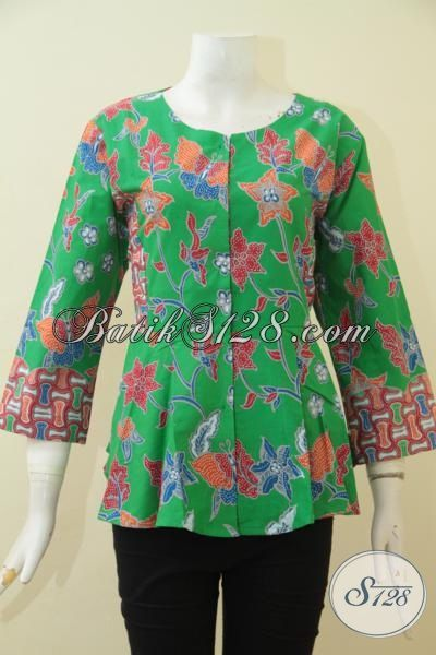 Batik Blus Warna Hijau Dengan Motif Bunga-Bunga, Model Baju Batik Cewek Terkini Yang Membuat Penampilan Makin Kece Dan Rapi, Size S – M