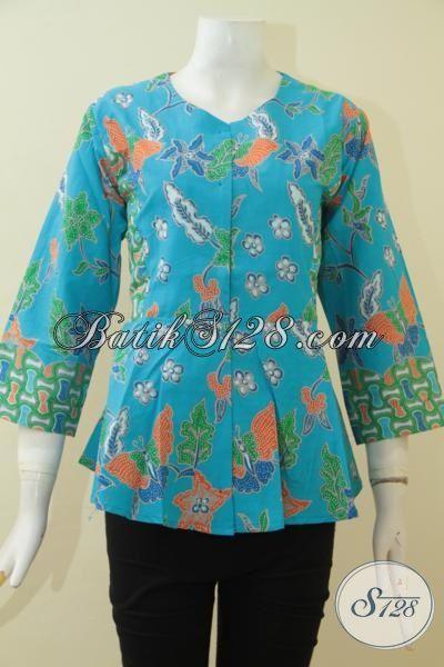 Baju Batik Biru Muda Motif Bunga, Pakaian Batik Seragam Kerja Perempuan UKuran M Desain Modis Trend Mode Masa Kini