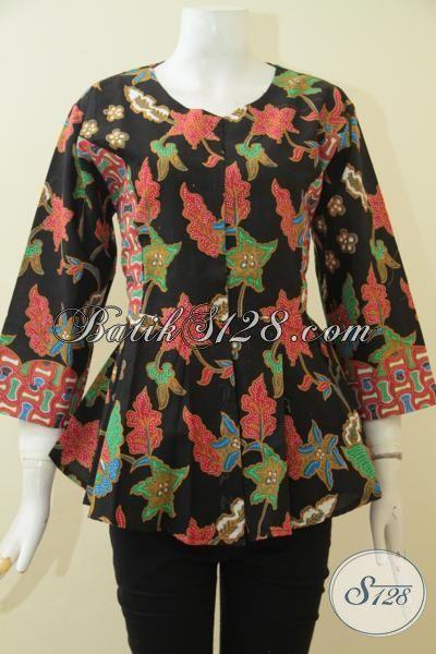 Blus Batik Bunga-Bunga Warna Dasar Hitam Elegan, Batik Jawa Proses Printing Kwalitas Halus Model Keren Abis, Size S