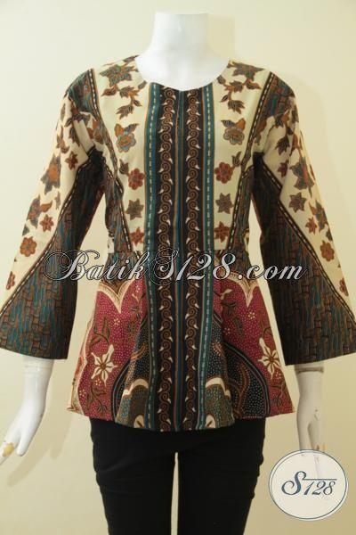 Busana Batik Elegan Motif Klasik, Pakaian Batik Jawa Buat Wanita Model Trendy Tanpa Kerah Berbahan Halus Proses Printing Cewek Makin Anggun [BLS3582P-L]