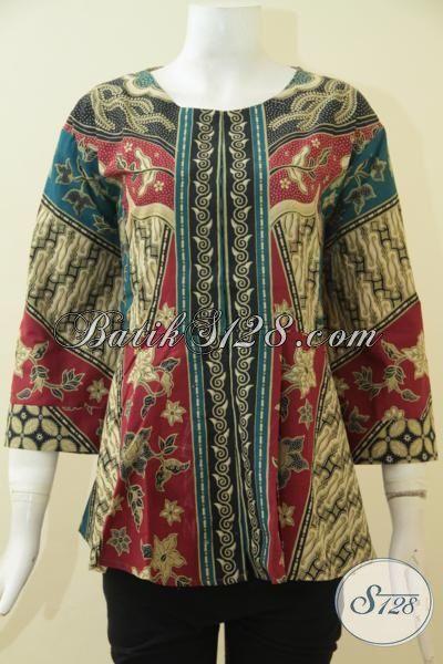 Baju Blus Batik Printing Motif Kombinasi Hadir Dengan