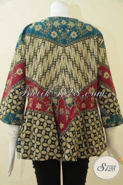 Batik Blus Motif Klasik Jumbo Dengan Motif Kombinasi, Baju Wanita Model Berkelas Bahan Halus Dan Adem Proses Printing Asli Buatan Solo Spesial Buat Wanita Gemuk, Size XXL