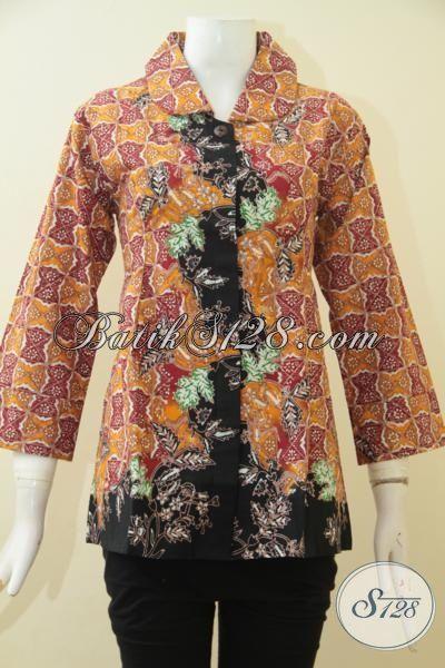Blus Batik Modern Trend Mode Terkini, Baju Batik Berkelas Motif Unik Proses Cap Tulis, Baju Batik Kerja Trendy Bikin Cewek Terlihat Memikat [BLS3586CT-M]