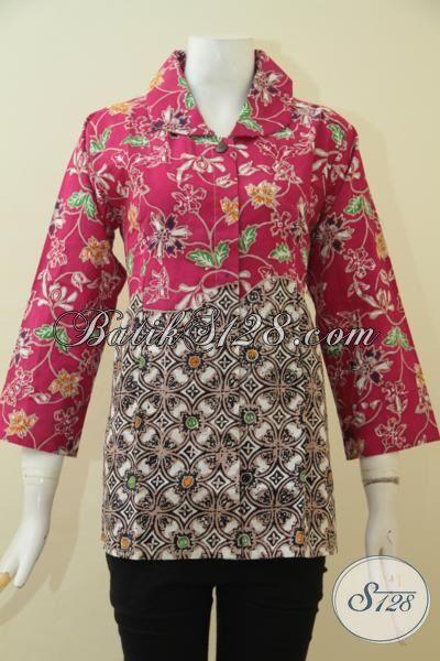 Batik Blus Istimewa Dengan Kombinasi Dua Motif Keren, Baju Batik Gaul Masa Kini Proses Cap Tulis Yang Cocok Buat Kerja Dan Pesta, Size M