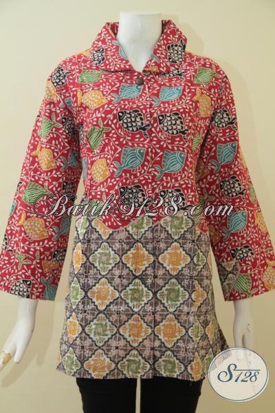 Pakaian Batik Dual Motif Model Terbaru Ukuran Jumbo, Baju Blus Batik Keren Banget Berpadu Warna Nan ELegan Proses Cap Tulis Buat Wanita Gemuk Tampil Modis [BLS3591CT-XXL]