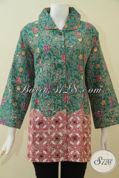 Jual Pakaian Batik 3L Kombinasi Dua Motif, Busana Batik Berdesain Mewah Membuat Perempuan Gemuk Tampil Terlihat Langsing Dan Mempesona, Size XXL