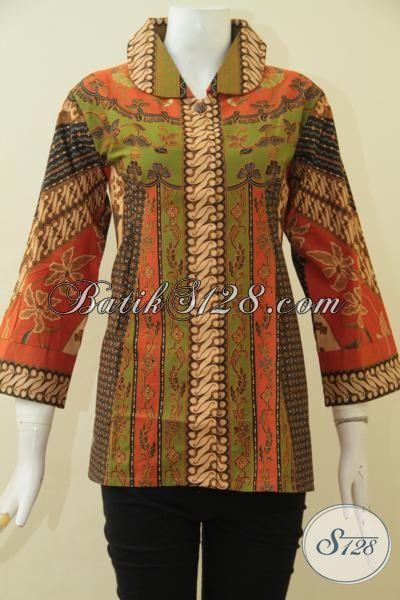 Baju Blus Batik Paling Diminati Saat Ini, Busana Kerja Elegan Motif Klasik Desain Istimewa Berbahan Halus Proses Print Harga Terjangkau, Size M – L