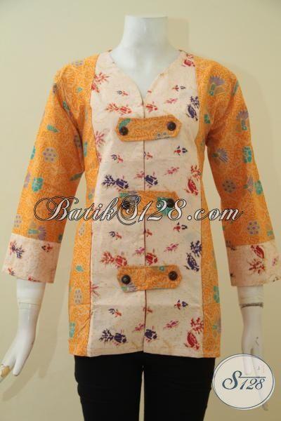 Batik Blus Kuning Kombinasi Cream Desain Berkelas Motif Trendy Proses Printing, Baju Batik Kerja Ukuran S Modis Untuk Wanita Muda