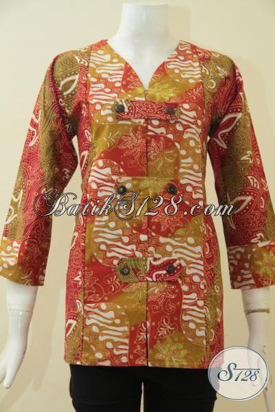 Pakaian Batik Desain Berkelas Berbahan Halus Motif Trendy Dan Mewah, Baju Batik Modern Proses Cap Tulis Ukuran S Elegan Buat Kerja Dan Pesta